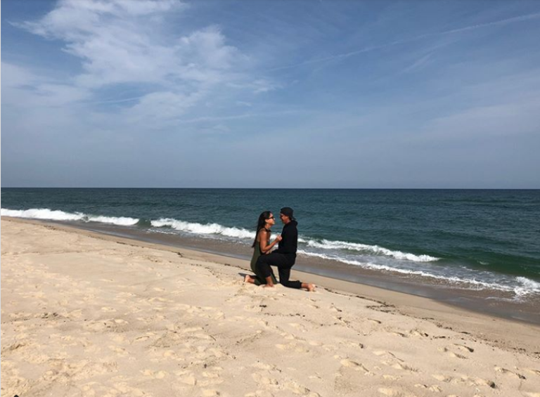 Rickie Fowler proposes to Allison Stokke on a beach
